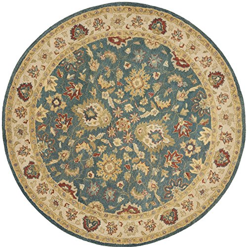 Safavieh Antiquities Collection AT15A Handmade Traditional Oriental Blue and Beige Wool Round Area Rug (6' Diameter) ()
