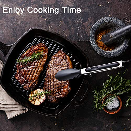 """HUSUKU Kitchen Tongs for Cooking, 9"""" Silicone Cooking Tongs with Stand and 12 inch Stainless Steel Flat Spatula Tongs, Non-Stick Food Tongs for BBQ Grilling Frying Serving, Set of 2"""