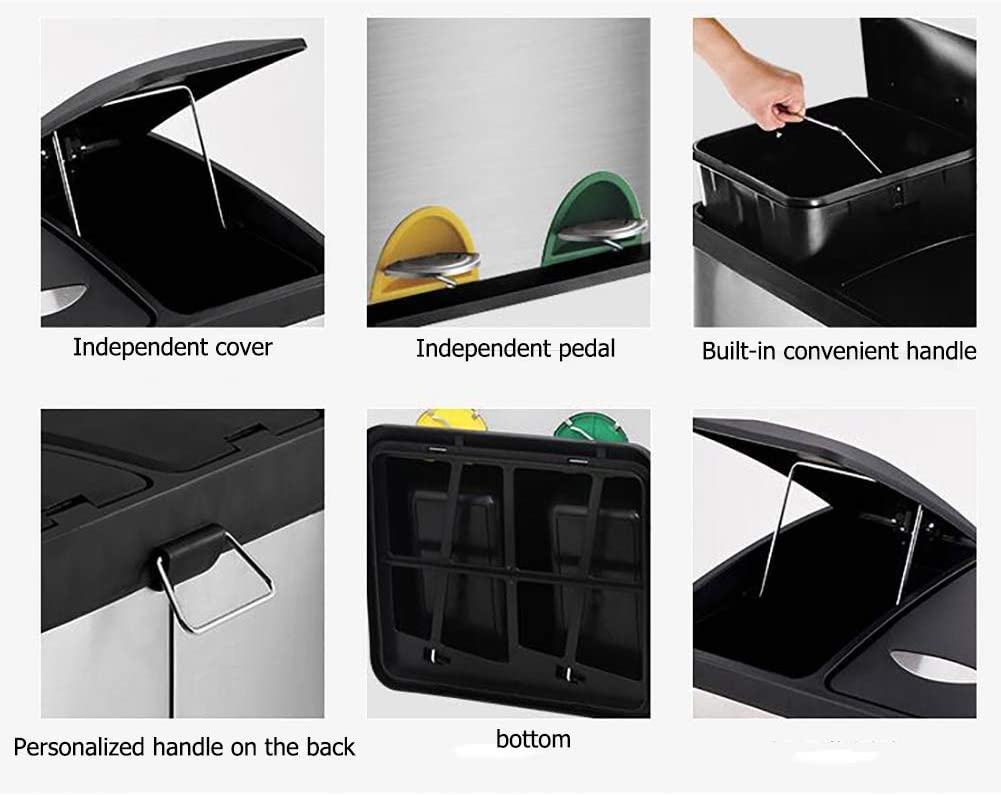 Bote de Basura con Cubos Interiores extra/íbles Acero Inoxidable-A 45L Papelera de Reciclaje UEHH Compartimentos m/últiples Papelera de Pedal