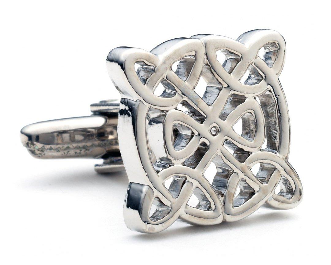 Silver Tone Celtic Love Knot Cufflinks B4421