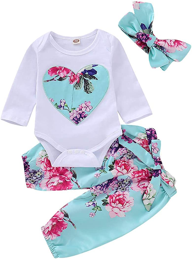 Headband Set Pants WonderBabe Newborn Baby Girls Outfit Long Sleeve Jumpsuit Top