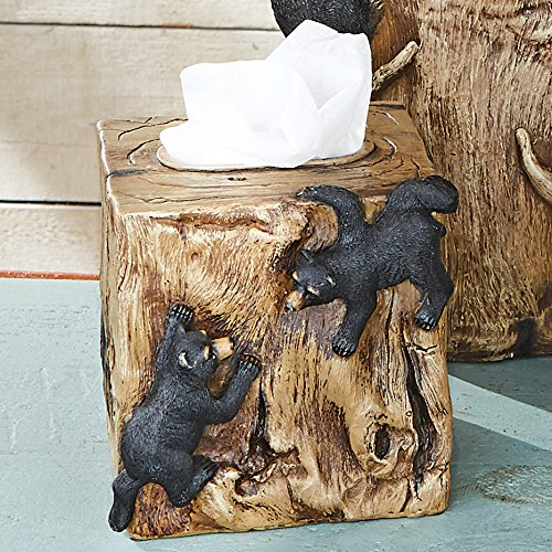 BLACK FOREST DECOR Rustic Decorative Vintage Western Tissue Box for Bathroom, Office, or Bedroom (Climbing Black)