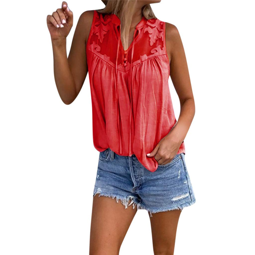 Tank Tops for Womens Camisole Teen Girls Chiffon Sleeveless T Shirt Stitching Lace V-Neck Tunic Cami Blouse 2019 Red