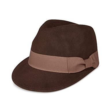 32fa8e3a566f2 Popz Topz Mens Wool Fedora Trilby Hat Brown XL at Amazon Men s Clothing  store