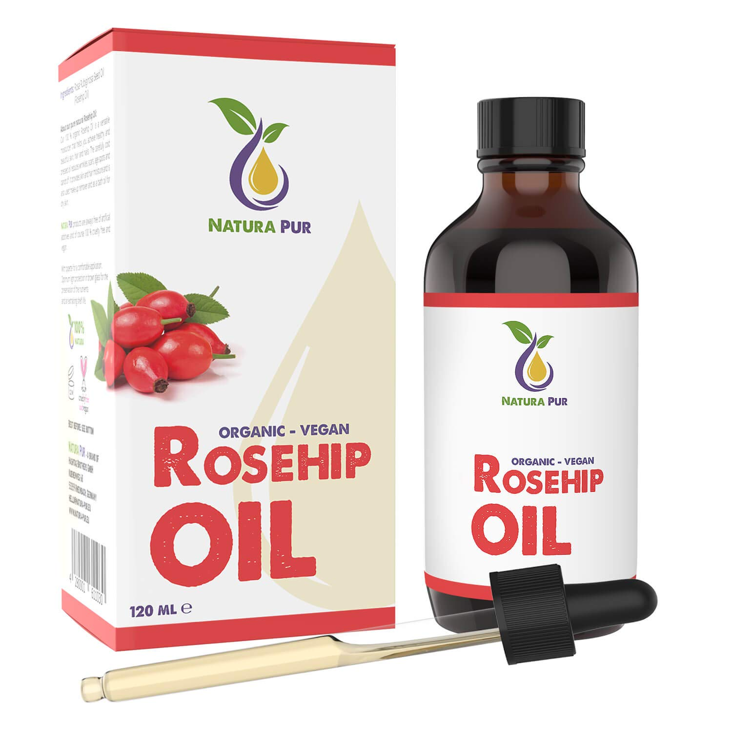 LAUNCH PRICE Natura Pur Organic Rosehip Oil (Wild Rose Oil) 120ml - 100% cold pressed, unrefined, vegan - anti-aging serum for face, body, hair, skin, hands