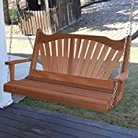 Dress the Yard Fanback Amish-Crafted Western Red Cedar Porch Swing (4 Foot, Cedar Stain)