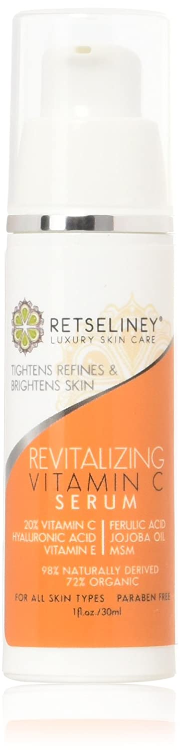 Retseliney Best Revitalizing Vitamin C Serum for Face, Anti Aging & Anti Wrinkle Serum, Repairs Sun Damage, Skin Discoloration, 20% C Serum for Skin & Eyes + Vegan Hyaluronic Acid & Vitamin E B00U22N98Q