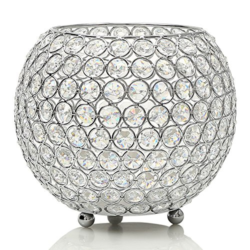 VINCIGANT Decorative Silver Crystal Clear Display Vases / Bowl Candleholders/Candle Shade for Valentines Day Home Holiday Decoration Wedding Coffee Table Decorative Centerpiece ,8 inch Diameter