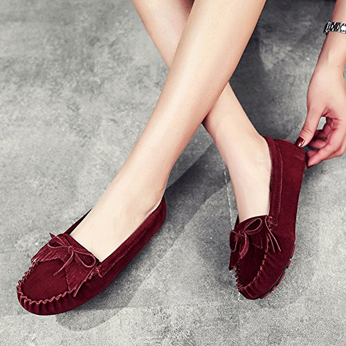 Casual Single Spring Lounger Shoes Brown Sandals Shoes Shoes and Pregnant Peas Flat Mouth Woman Shoes ZCJB Shallow Shoes Summer Tassel qOx74Zpwg