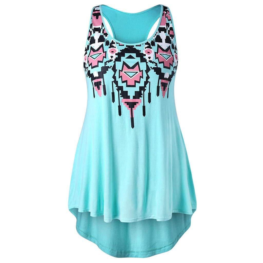 OTINICE Women Loose Tank Top Blouse Sleeveless O-Neck Plus Size Racerback Casual Fashion T-Shirt Blue