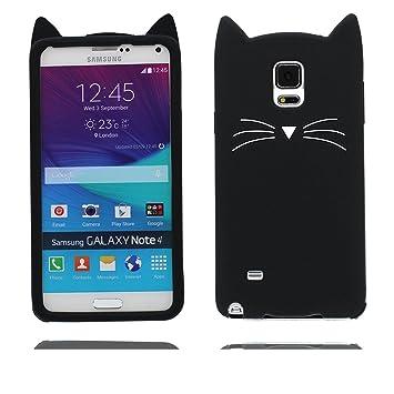 Samsung Galaxy Note 4 Carcasa, Samsung Galaxy Note 4 funda, 3D de dibujos animados lindo gato suave Silicona [prueba de choque]Case Cover for Samsung ...