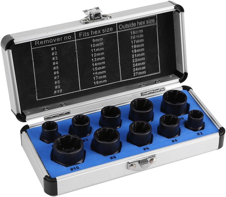 Juego de 10 piezas de extractores de tuercas para destornillador, de 9-19 mm, para extraer tornillos dañados, Others