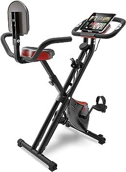 Sportstech Bicicleta Estática con Pantalla LCD y Sistema de Correa de Tracción -Marca Alemana de Calidad- Bici Estática con Asiento Cómodo y Sensores de Pulso - Bicicleta Plegable para Casa - X100-B: