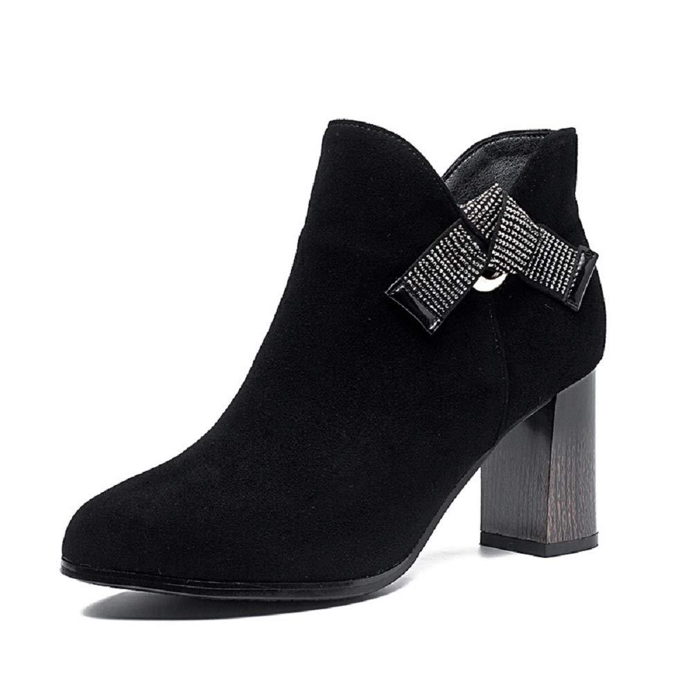 ZHRUI Beaded Bowknot Damen Stiefel Schwarz Block Lederschuhe (Farbe   Schwarz, Größe   EU 39)