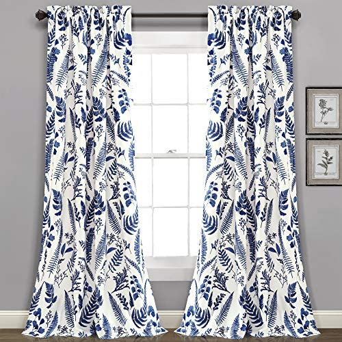 Lush Decor White-and-Navy Devonia Room-Darkening Window Curtain Set 95 x 52