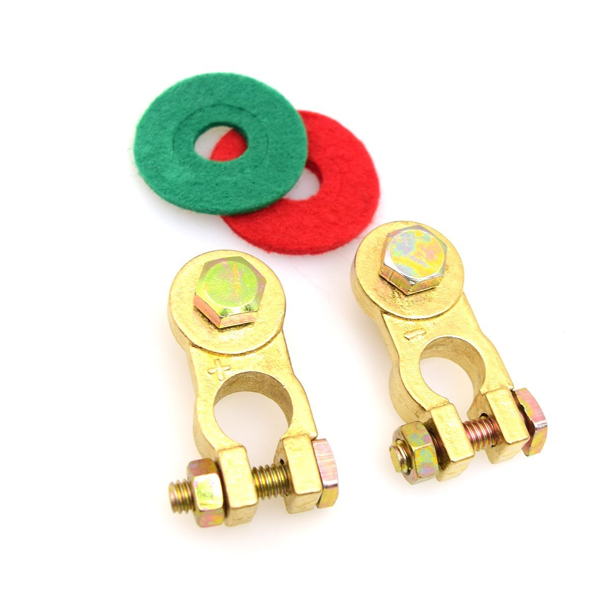 Marine Featured Coated Wing Nuts 17mm 200A E-KYLIN Pure Copper Battery Terminal Kit with Battery Corrosion Terminal Protectors