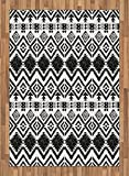 Tribal Area Rug by Lunarable, Hand Drawn Style Tribal Pattern Geometric and Oranmental Aztec Design Print, Flat Woven Accent Rug for Living Room Bedroom Dining Room, 5.2 x 7.5 FT, Black and White