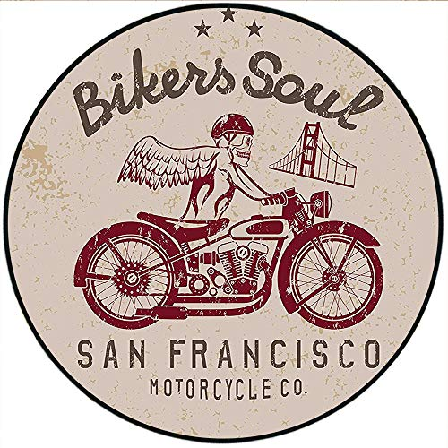wling mats Retro Bikers Soul San Francisco Emblem with Skull Wings Riding Motorcycle Dead Illustration Beige Ruby Floor playmats Children's Room 23.6