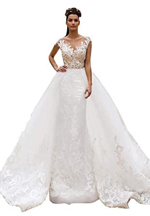 8d392c17d0 BetaaBetaa Detachable Ivory Lace Wedding Tutu Train Bridal Wedding Dress  Overskirt Open Front XS