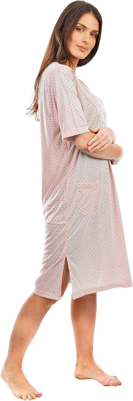 in morbido cotone Camicia da notte da donna con ricamo floreale a maniche lunghe con tasca profonda i-Smalls