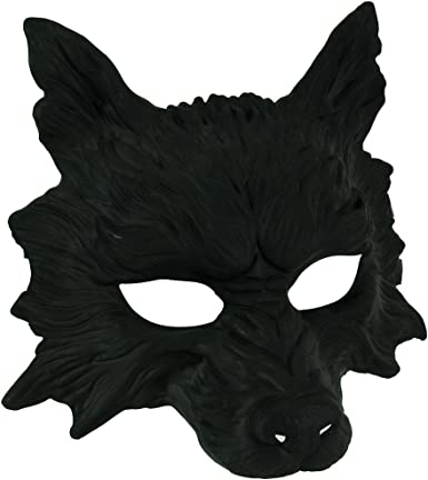 KBW Máscara de Disfraz de Lobo Negro Mate para Adulto: Amazon.es ...