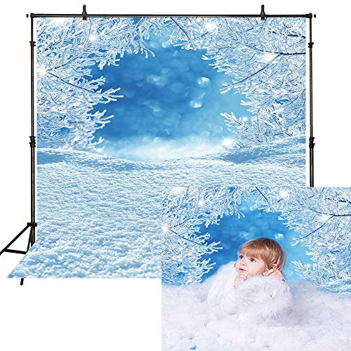 Funnytree 8x8ft Christmas Snow Frozen Tree Backdrops for Photography Winter White Bokeh Blue Glitter Snowflake Wonderland Background Professional Newborn Baby Portrait Photo Studio Photobooth -
