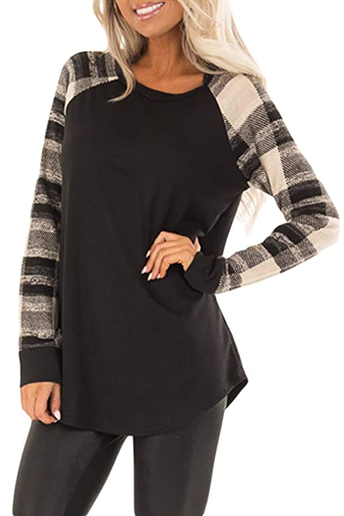 BLENCOT Womens Autumn Shirts Casual Color Block Plaid Long Sleeve Soft Long Tunic Tops Knit Black-White Small