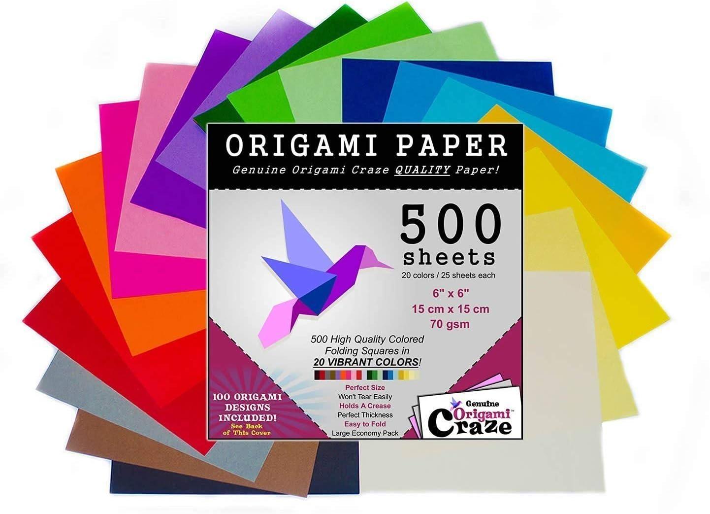 Papel Para Origami, 500 Hojas Cuadradas De 15cm, 20 Colores