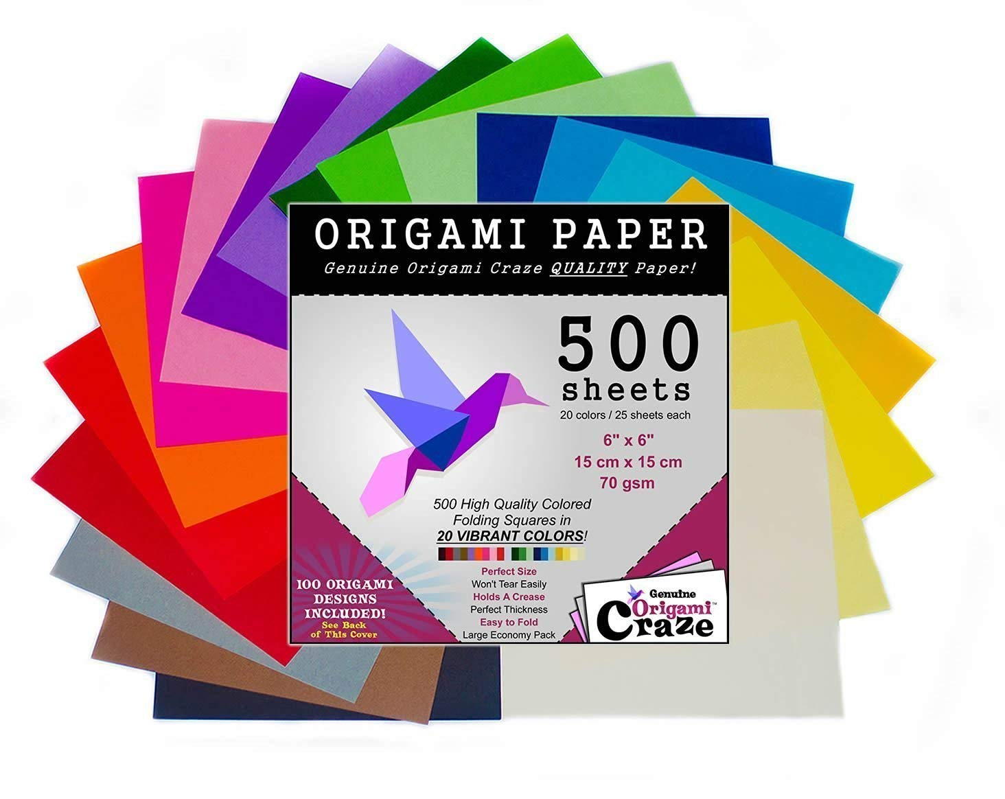 Origami Paper 500 Sheets, Premium Quality for Arts and Crafts, 6-inch Square Sheets, 20 Vivid Colors, Same Color on Both Sides, 100 Design E-Book Included (See back of the cover for download info)