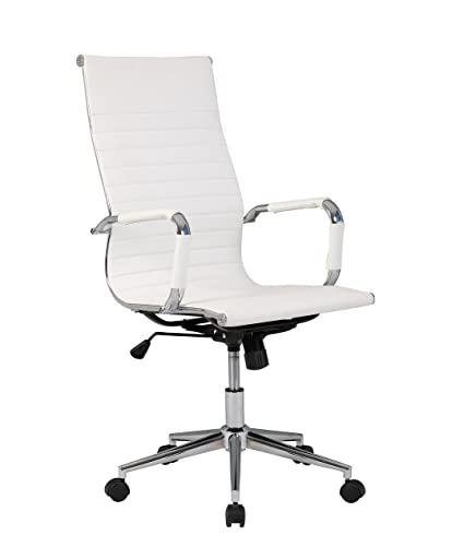 Belleze Modern High-Back Ribbed Executive Faux Leather Upholstered  Conference Tilt Adjustable Height Office Desk Chair, White