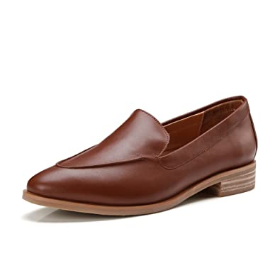 ONEENO Womens Loafers Comfort Casual Slip on Low Heel Cowhide Leather Flat  Shoes Brown Size 4.5
