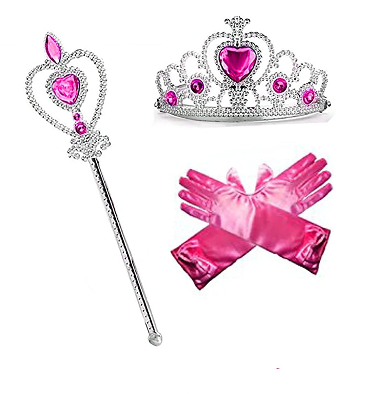 Princess Dress up Party Accessories - 3 Piece Gift Set: Gloves, Tiara and Wand