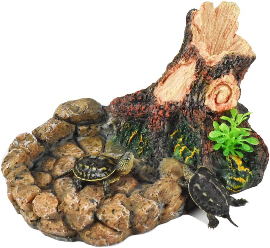 OMEM Reptile Feeding Bowl Terrarium Food Dish Water Bowl Turtle Tank Habitat Decor Rock Tree Root Drinking Basin