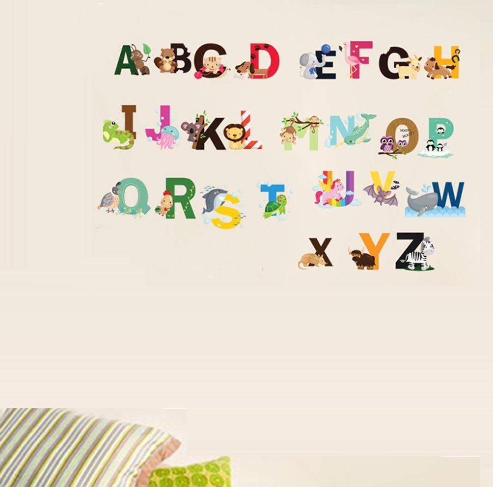 Amazon com bibitime diy abc 26 alphabet vinyl stickers english letter owl zebra animal character wall decal for school classroom nursery bedroom kids room