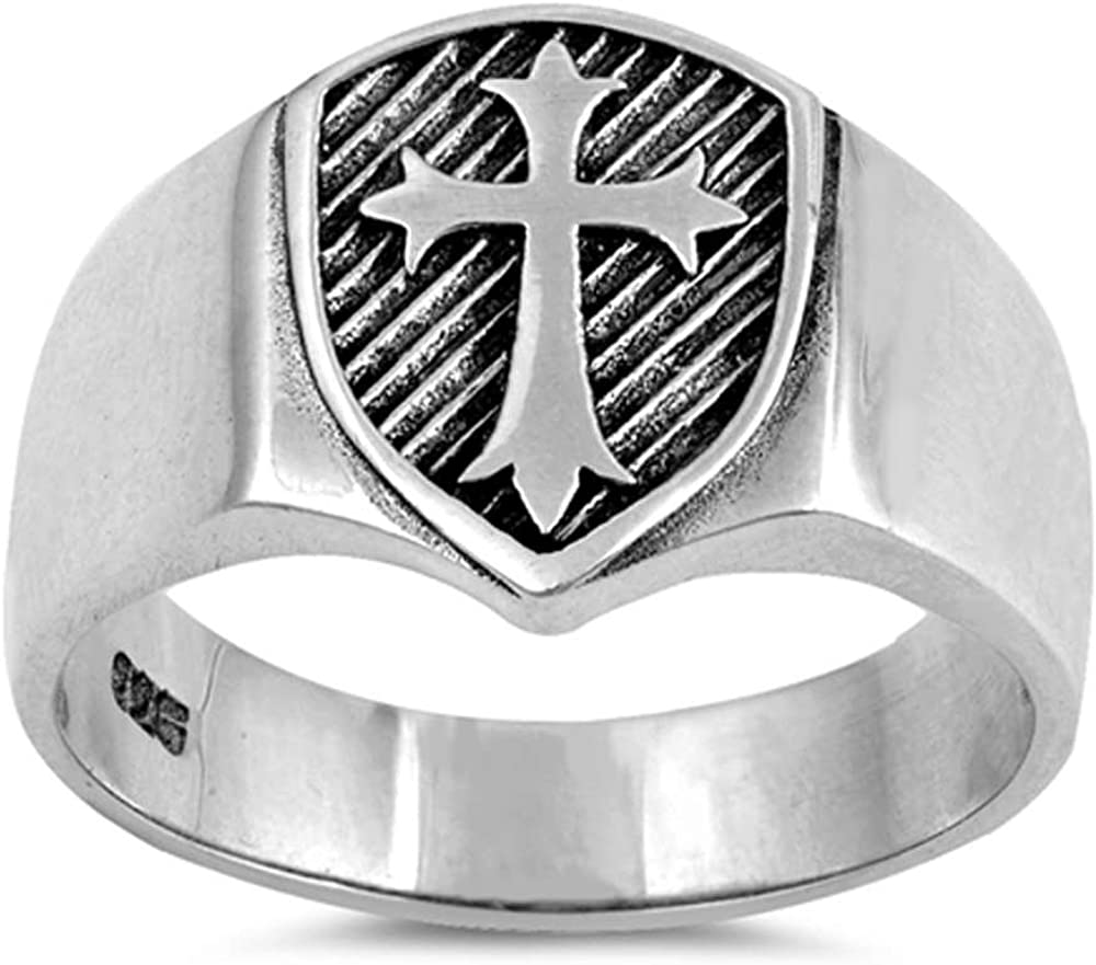 Oxford Diamond Co Sterling Silver Men's Solid Medieval Shield Cross Band Ring Sizes 6-13