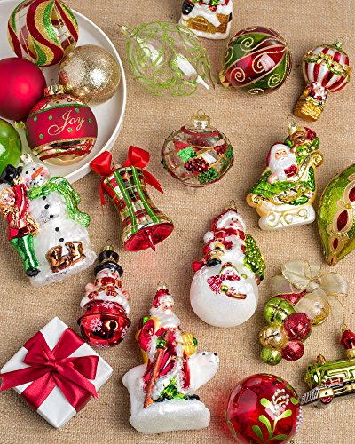 Balsam Hill 35 Piece Mistletoe and Holly Ornament Set - (Christmas Red Green)