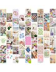 PANTIDE 50Pcs Danish Pastel Aesthetic Wall Collage Kit Pink Theme Poster Photo Dorm Trendy Cottagecore Wall Art Print Warm Color Pictures Collage Room Bedroom Decor Gift for Teen Girls, 4x6 Inch