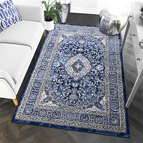 Oriental Dining Room - 8 x 10 Area Rug Blue & Ivory Oriental Medallion Rug for Living Room Dining Room Bedroom Transitional Vintage Distressed Design [ 7' 10