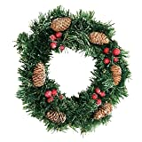 Crt Gucy 12Inch Christmas Wreath Gold w Pine Cones & Red Berries (Small image)