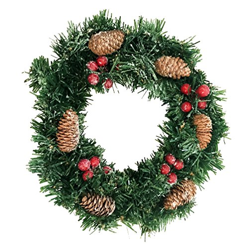 Crt Gucy 12Inch Christmas Wreath Gold w Pine Cones & Red Berries (Large Image)