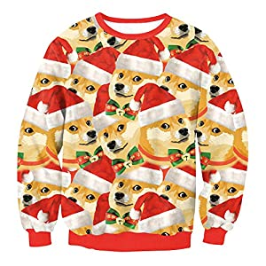 Hulaha Womens 3D Digital Cute Dog Christmas Sweatshirts Ugly Pullovers