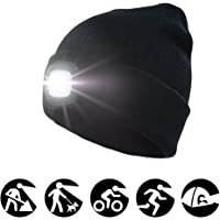enjoydeal 4LED Knit Hat Rechargeable Hands Free Headlamp Cap for Hunting,Camping,Grilling Running,