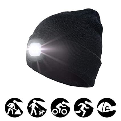 5 LED Sports Running Knitted Beanie Cap Headlamp Head Light Flashlight Torch Hat