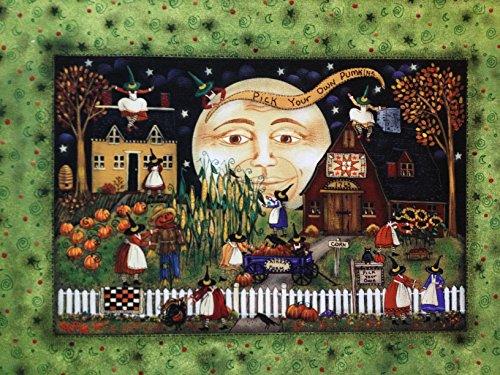 New England Prim Folk Art Village Scene Pick Your Own Pumpkins]()