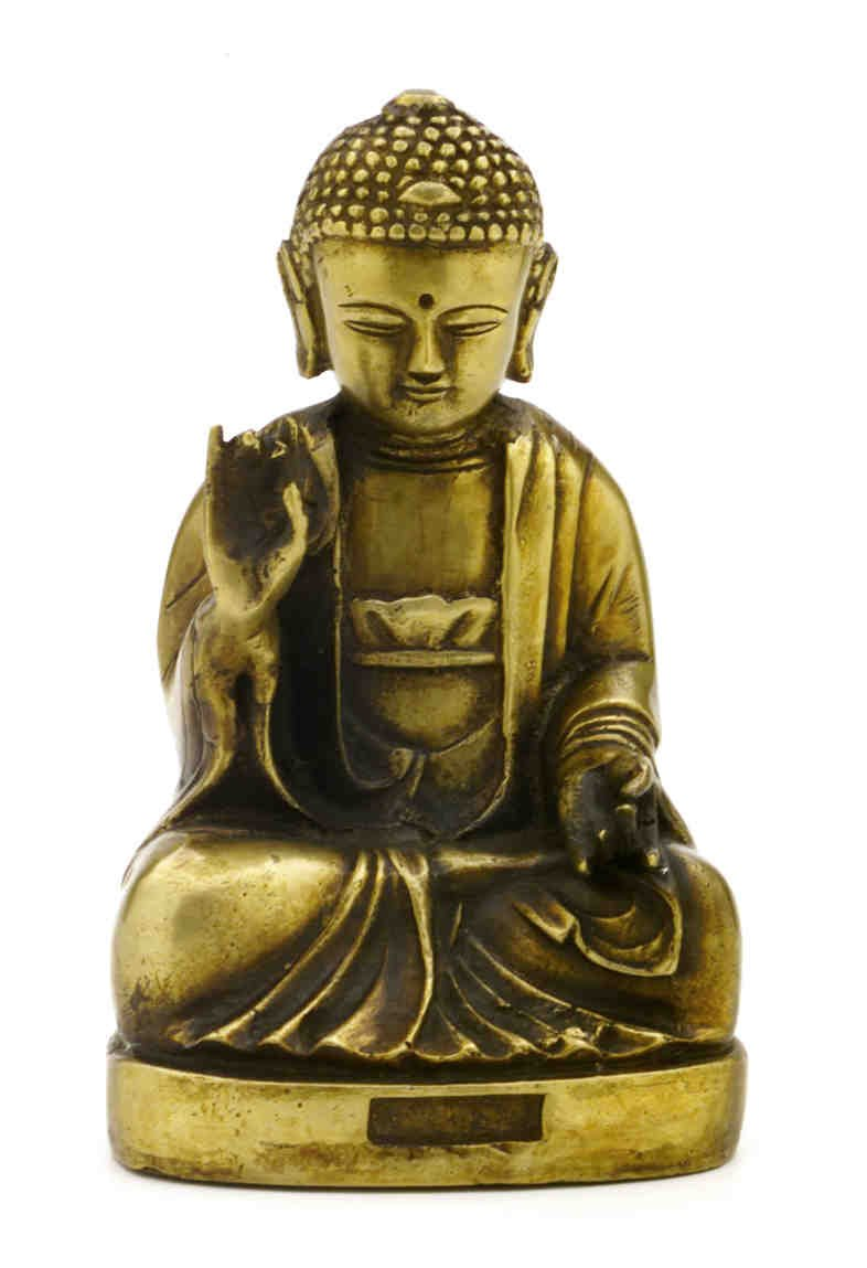 SEATED BRASS BUDDHA ANTIQUE BRASS