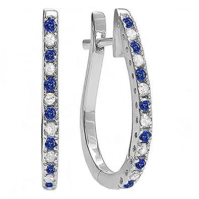 30bd4984fe4 Amazon.com  14K White Gold Round Blue Sapphire   White Diamond Ladies Hoop  Earrings  Jewelry