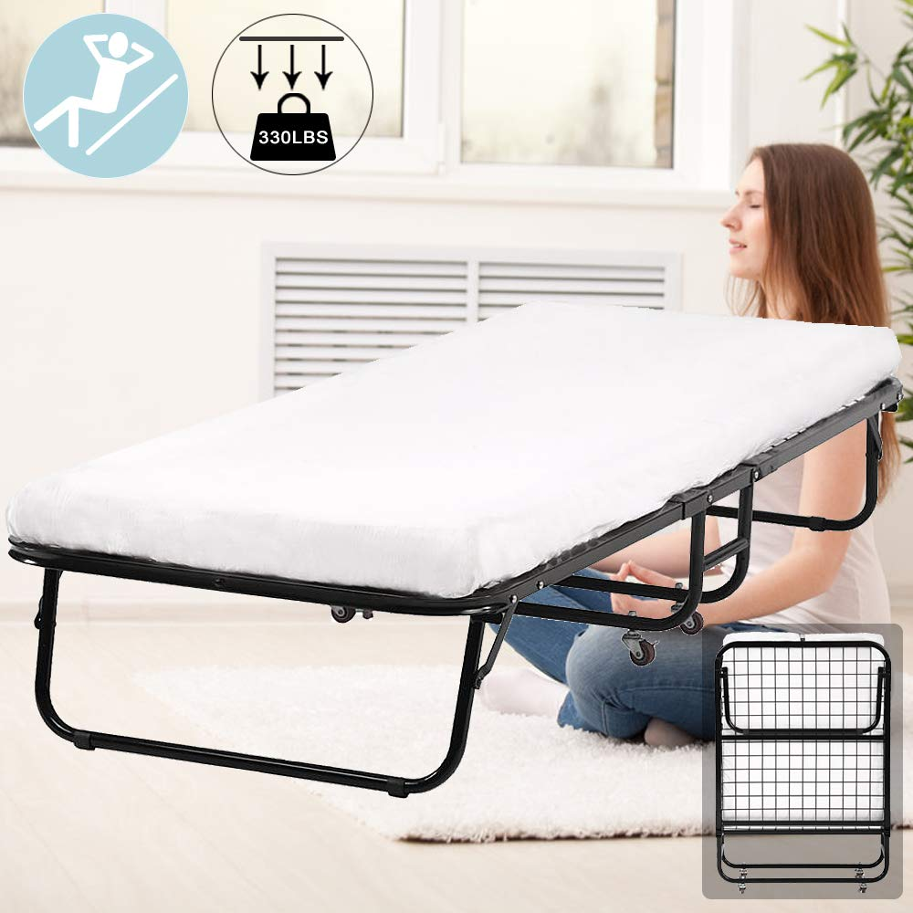 Folding Bed, Guest Rollaway Twin Size Camping Cots Bed Metal Frame with 3 Inch Foam Mattress 330Lbs Capacity Heavy Duty Extra Protable Foldaway Guest Bed on Wheels Easy Storage and Simple Assembly