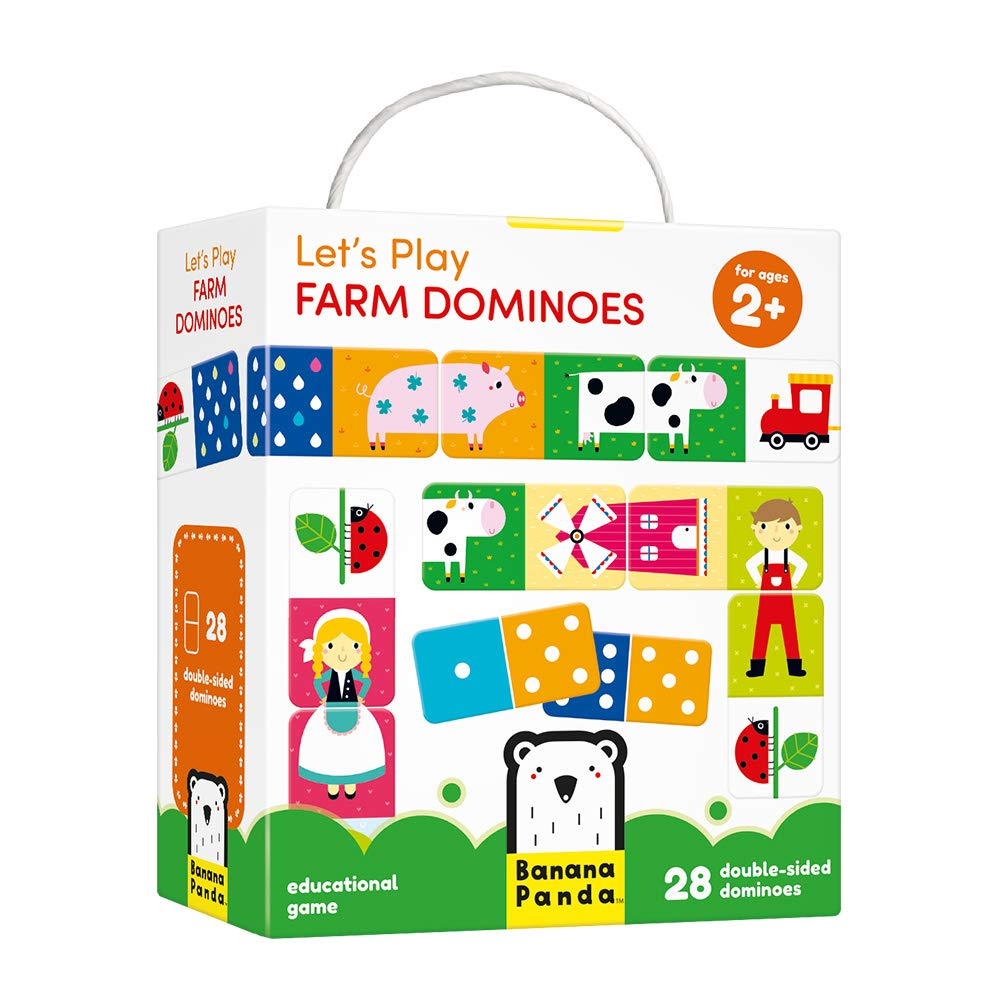 Banana Panda Let's Play Farm Dominoes Classic Kids Game with Three Ways to Play for Ages 2 Years and Up