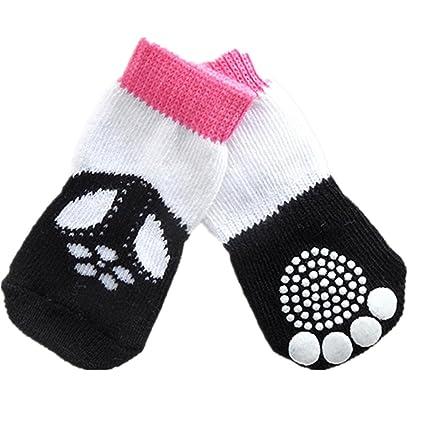 Calcetines de mascota,RETUROM Calientes 4pcs algodón antideslizante calcetines calientes de punto para gato perro