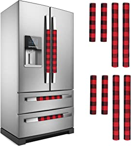 LimBridge Christmas Refrigerator Door Handle Cover, for Double Door Fridge Kitchen Microwave Dishwasher Handle Decorations,Buffalo Plaid Red and Black, Two Sizes, 8p